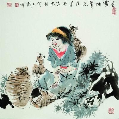 阿卢荷花水墨画-他创作的人物和小品画,充分体现了中国画的书卷气和笔墨气韵,彰显